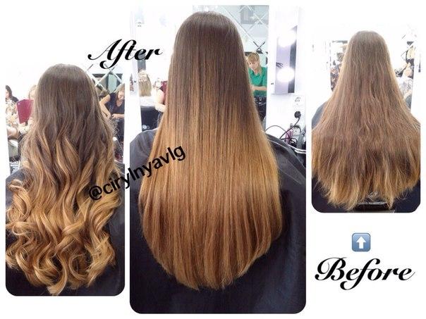 Омбре окрашивание на длинные волосы